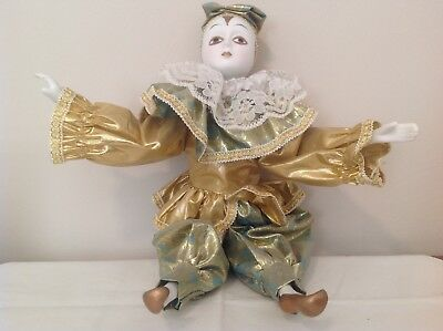Beautiful Porcelain MIME Doll with Gold Outfit and Accents  - Mime Outfit