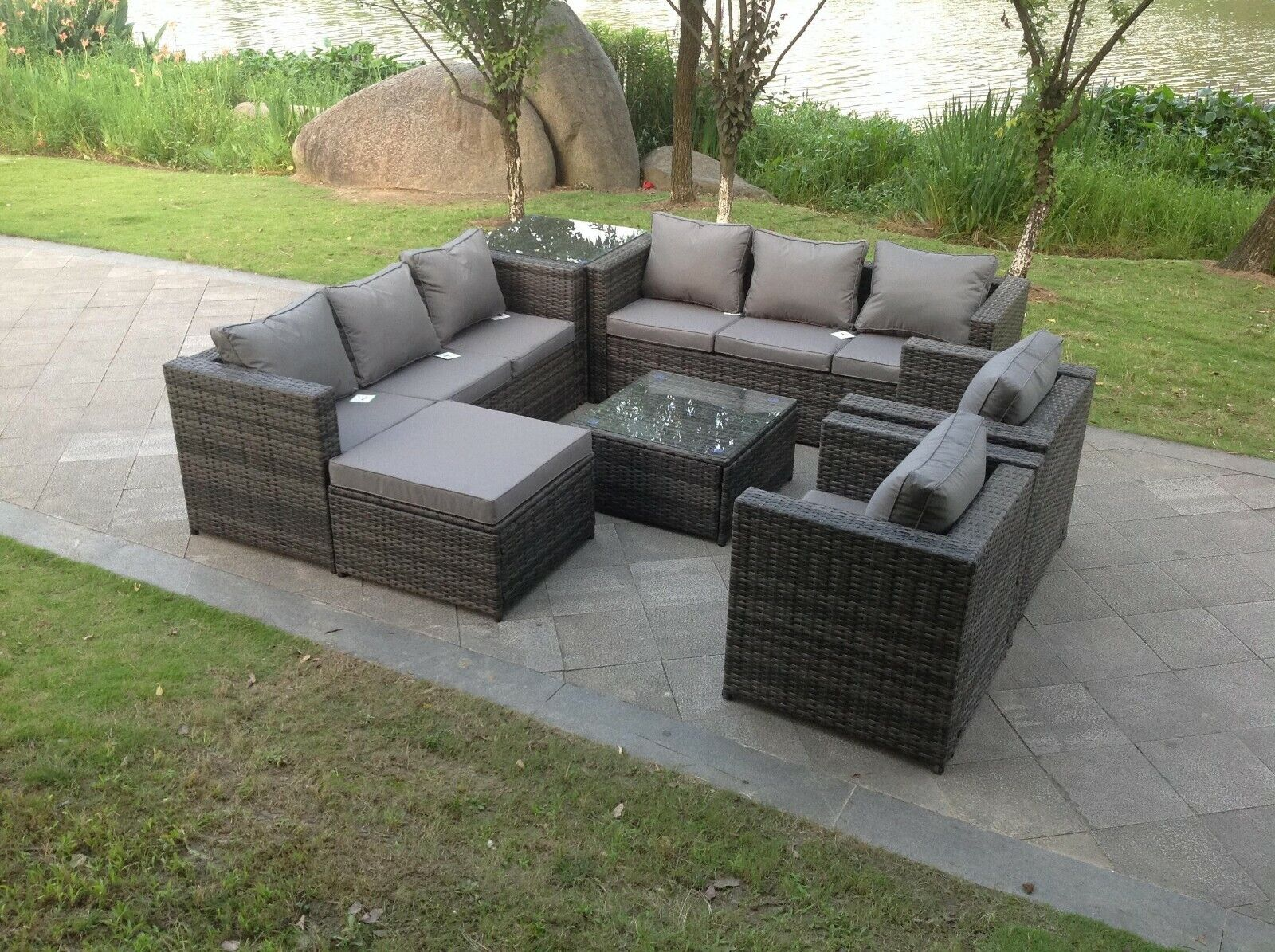 Garden Furniture - 9 Seater Rattan Sofa Set Chair Coffee Table Footstool Outdoor Garden Furniture