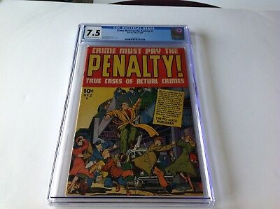 CRIME MUST PAY THE PENALTY 2 CGC 7.5 EXTREME VIOLENCE TRI STATE MURDERER ACE
