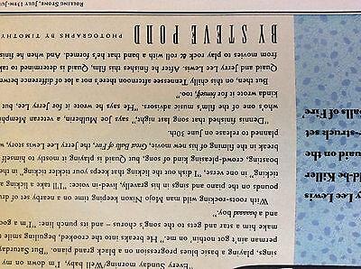 a1n ephemera 1989 article folded dennis quaid jerry lee lewis