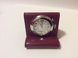 MONTBLANC BOHEME Red LEATHER TRAVEL ALARM CLOCK WATCH SWISS 35775  WITH BOX