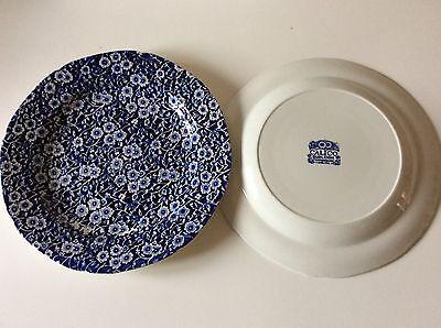 2 BURLEIGH Deep Dinner Plates CALICO Blue & White Chintz Pattern Staffordshire