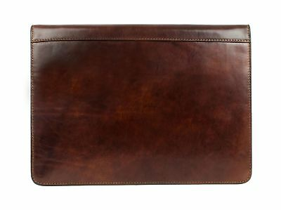 Leather Portfolio Dark Brown Leather Organizer Document Holder - Time Resis...