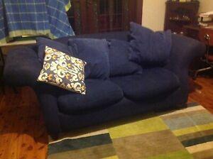 Elegant mignight- blue brushed cotton 3 seater sofa