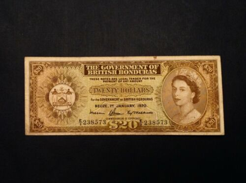 - Rare 1970 British Honduras  $20  Dollars  Elizabeth II   P 32c - Sale Priced