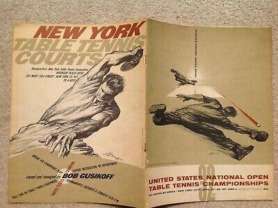 1962 US National Open Table Tennis Championships Program Gustav Rehberger Art