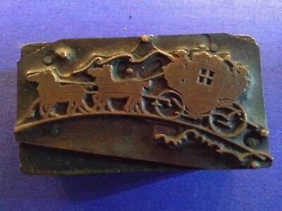 Vintage Copper On Wood Letterpress Stage Coach Printing Block