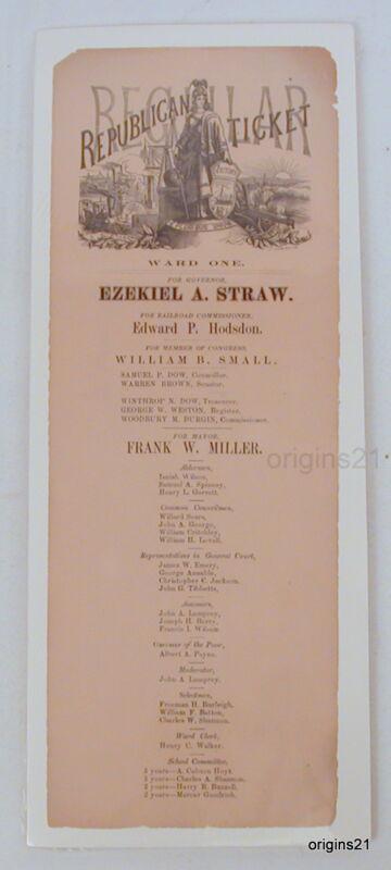 1872? REPUBLICAN political ticket NH broadside Gov STRAW Portsmouth Mayor MILLER