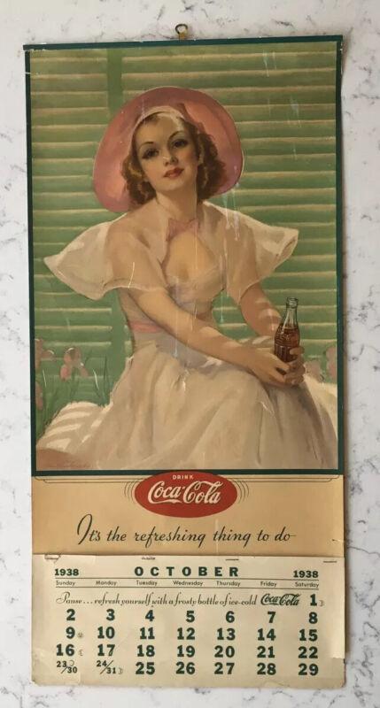 VINTAGE 1938 DRINK COCA-COLA ADVERTISING PIN-UP CALENDAR
