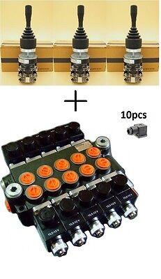 HYDRAULIC BANK MOTOR 5 SPOOL VALVES 80L/MIN ELECTRIC 12V + 3 JOYSTICKS