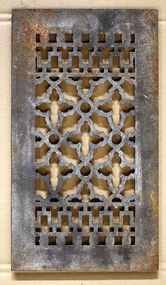 """14""""x8 Vintage Gothic Cast Iron Metal Wall Floor Vent Register Grille Cover Grate"""