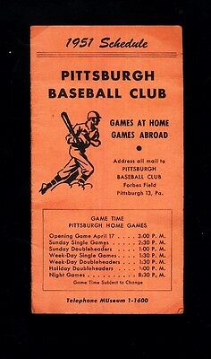 1951 Pittsburgh Pirates Mlb Baseball Double Fold Schedule