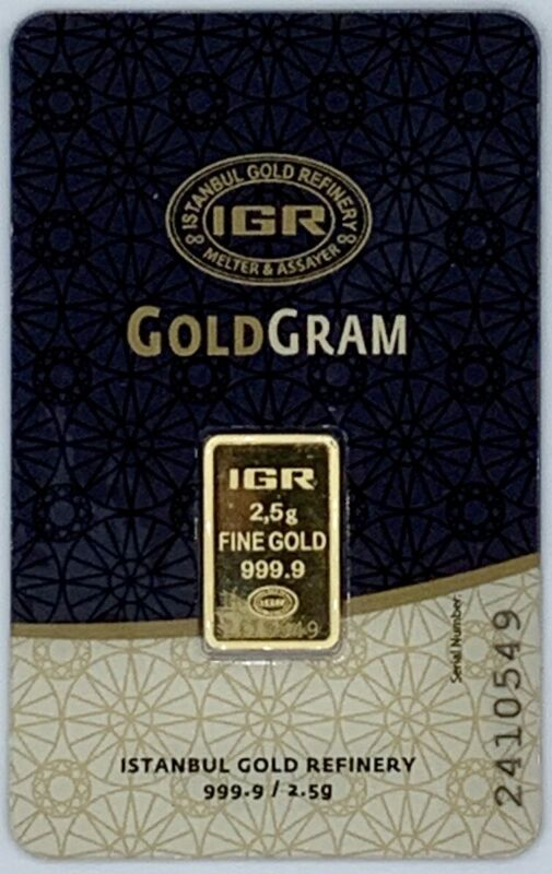 2.5 gram IGR Gold Bar - 999.9 Fine in Sealed Assay Card
