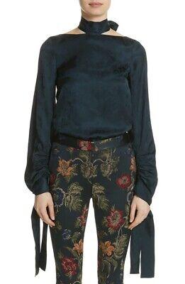 $1,174 ROSETTA GETTY Size 10 Floral Jacquard Cutout Satin Blouse Top Dark Blue