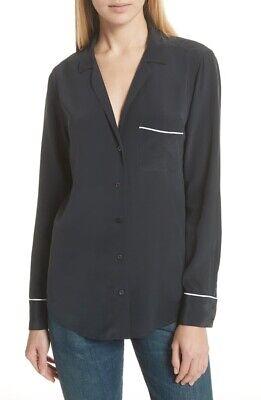 Equipment 171153 Womens Keira Piped Long Sleeve Silk Shirt Black Size X-Small