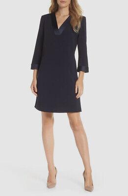 $460 Tahari Asl Women's Blue V-neck Satin Trim 3/4 Sleeve Shift Dress Size 10