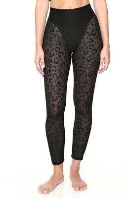 NEW Adam Selman Sport French Cut Leopard Print Leggings - Black / Mesh - Small