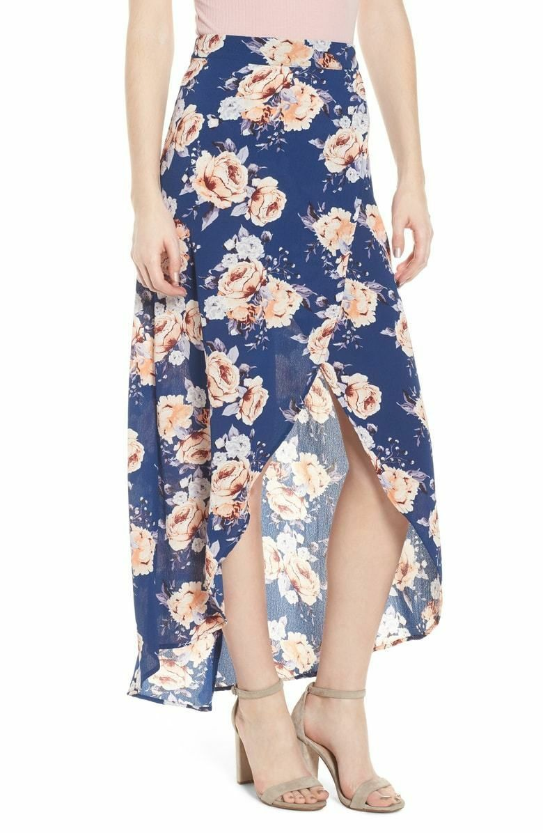 4c6567a485a2 NWOT MIMI CHICA WOMENS NAVY FLORAL MAXI HIGH LOW WRAP SKIRT SIZE M ...
