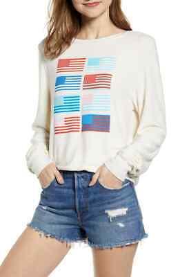 Wildfox Womens Pop Americana Flag Print Baggy Beach Jumper Sweatshirt Size Large