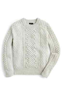 NWT J. Crew K5311 Small Winter CoZy Soft Gray Classic Popcorn Crewneck Sweater