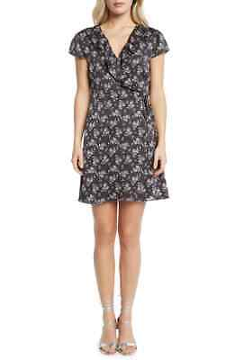 Willow & Clay Women's Black Floral Printed Ruffled Wrap Dress Size Large $98 - Willow Dress