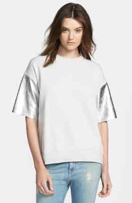 $595.00 Each x Other Metallic Leather Sleeve French Terry Sweatshirt Sz.XS