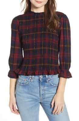 FREE PEOPLE Sz L Smocked Plaid Top by Moon River NWT Navy / Red Plaid