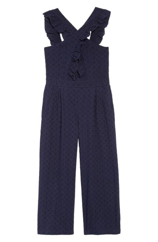 Habitual 162365 Girls Kids Mila Crisscross Cotton Jumpsuit Navy Size 10