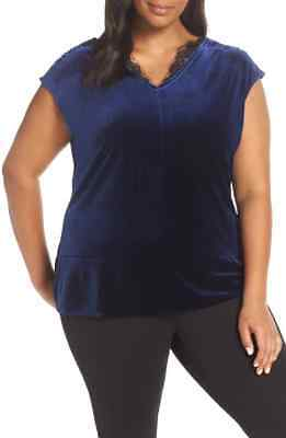 NWOT Sejour Lace Trim Velvet Top Navy 3X