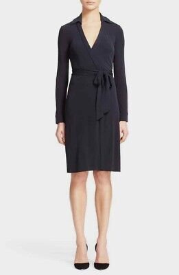 DVF Diane Von Furstenberg New Jeanne Two Wrap Dress Black - Sz 2