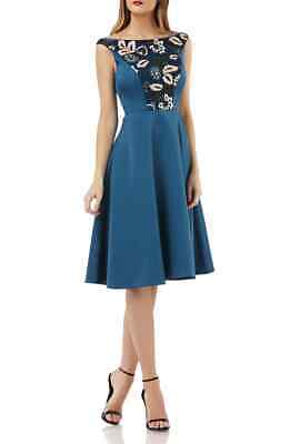Kay Unger Embroidered Sequin Fit & Flare Dress MSRP $258 Size 16 # 12B 155 NEW