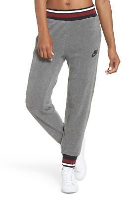 NEW Nike Women's Size MEDIUM Sportswear French Terry Pants AJ2895 091 Gray/Red
