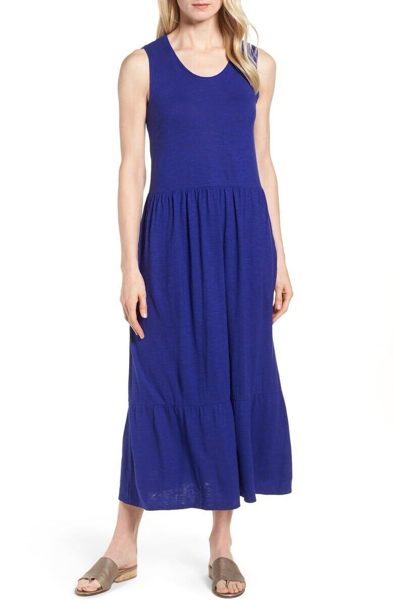 NWT Eileen Fisher Scoop Neck Midi Dress Hemp Organic Cotton Twist Violet S L XL