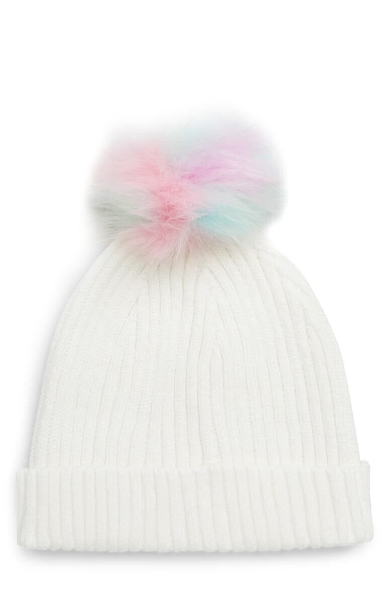 Capelli New York Girl/'s Ribbed Cuffed Hat with color-pop Pom Pom Size M//L
