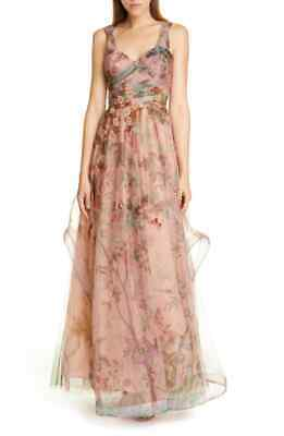 NWT $2,800 Patbo Beaded Print Tulle Evening Gown, Size 2 US / 34 BR