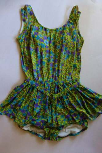 1960s Vtg Swimsuit Skirted One Piece SZ M/L Chartreuse Purple Turquoise Foral