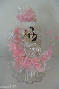 figurine de mariage d coration g teau pi ce mont e socle fleurs perles ebay. Black Bedroom Furniture Sets. Home Design Ideas