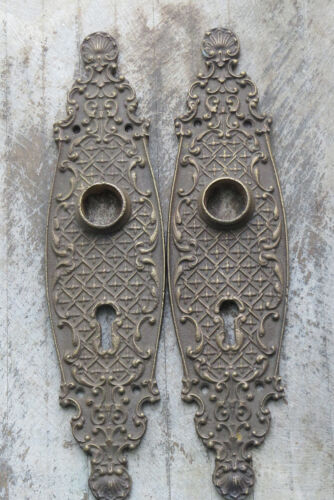 PAIR Ornate Antique French Solid CAST BRONZE not iron Door BACK PLATES  Keyhole