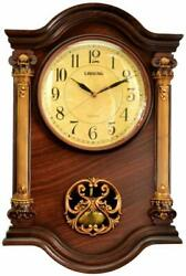 Grandfather Wall Clock with Swinging Pendulum, Mahogany/Gold 22 x 15 x 3-Inch