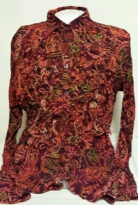 Clothing Co Women's Juniors Long Sleeve Funky Disco Button Down Top Size