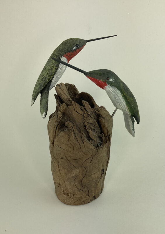 Beautiful Hand Carved Wooden Hummingbirds on Branch Dick Hoeft