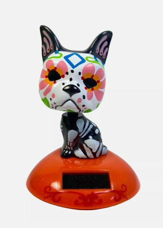 Sugar Skull Dog Solar Powered Dancing Toy Bobblehead Dia De Los Muertos