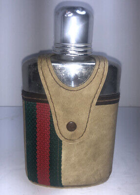 1920's Antique Vintage Gucci Glass Flask And Case