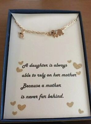 Mother and Daughter Rose Gold Elephant Necklace w/ love poem/Gift - Mother Daughter Poem