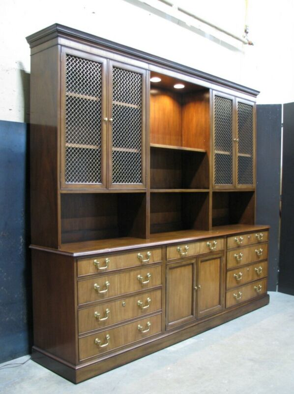 "Oversized 92"" Baker Furniture Collectors Edition Mahogany Credenza & Bookcase"