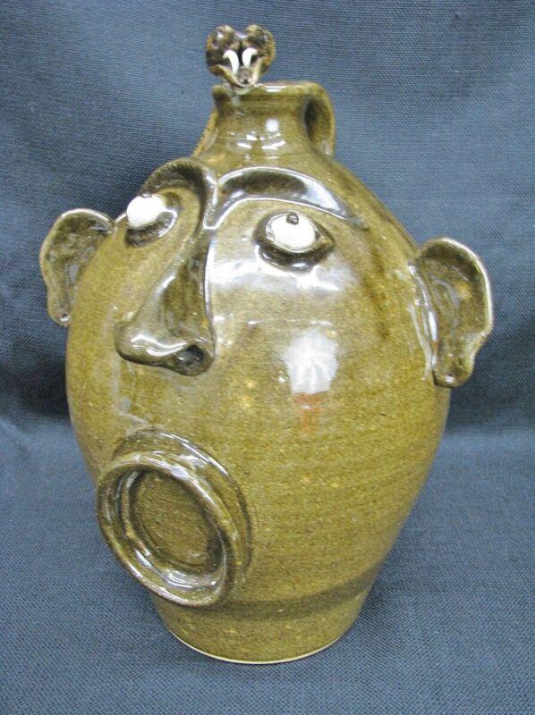 """Otis Norris Primitive 12"""" Snake Face Jug Southern Folk Art Pottery; Signed"""