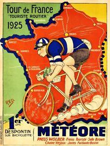 Reprint of vintage cycling poster - 1925 Tour De France promo poster.