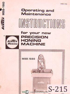 Sunnen Mbb 1660 Honing Machine Operators Instructions And Maintenance Manual