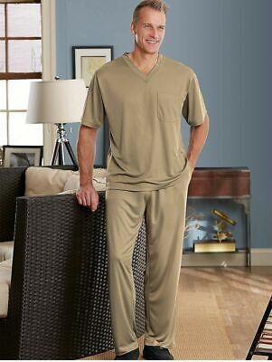 NEW Haband Men InstaDry Tee & Pants Pajamas Set Size Large Short Sleeve V-Neck ()