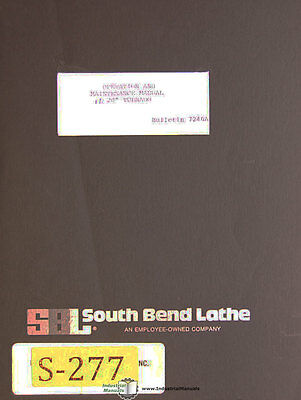 Southbend 17 And 20 Lathe Operations Maintenance Parts Manual 85pages